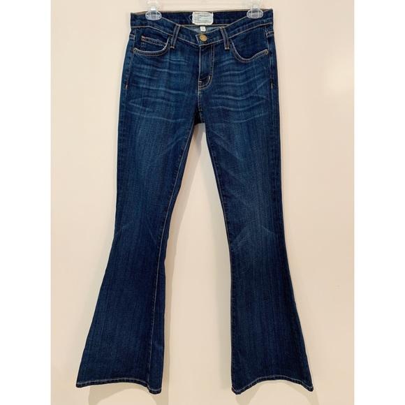 Current/Elliott Denim - Current/Elliott The Low Bell Dark Wash Flare Jeans